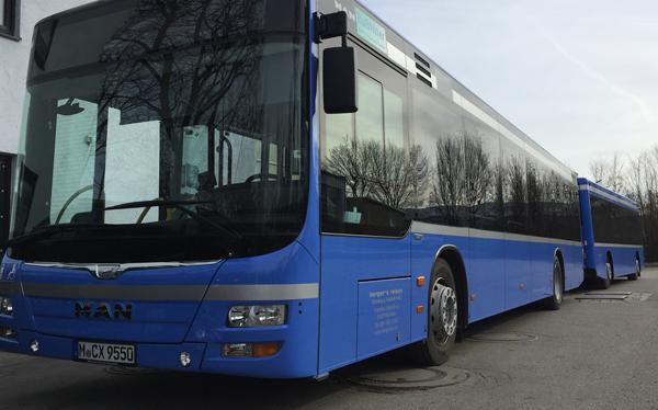Buszug mit Überlänge - Linienbusse von berger's reisen Omnibus & Touristik oHG - Ihrem Busunternehmen im Münchner Osten